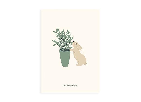 Print, bunny & plant