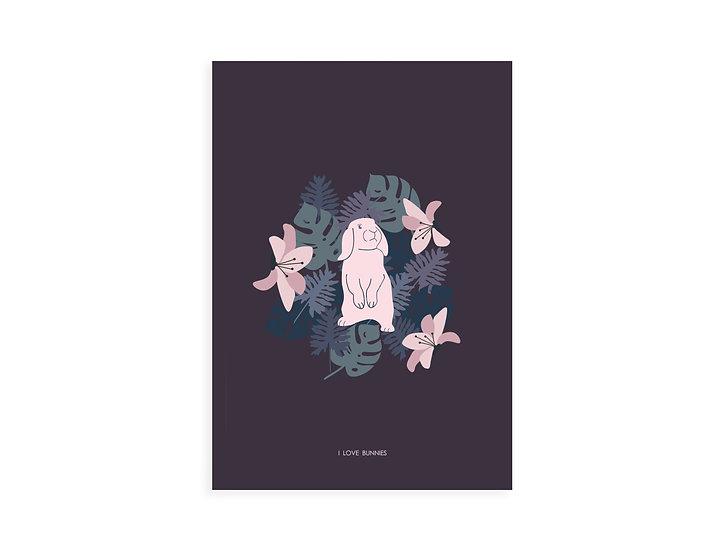 Print, pink loop bunny