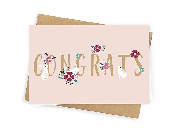 Congrats greeting card, pink