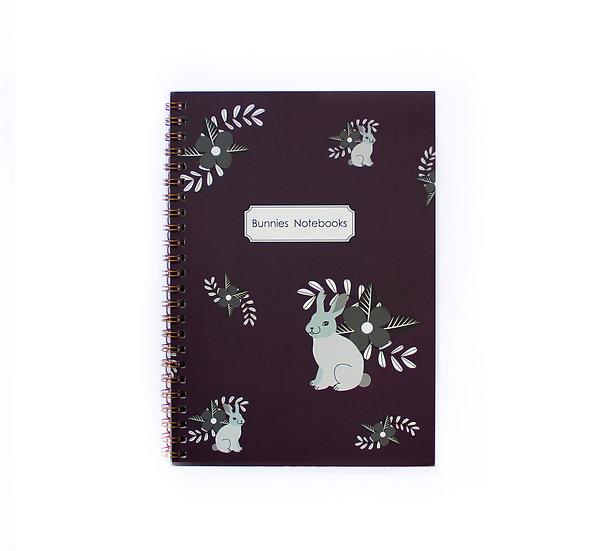 Notebook, Gold Spiral Binding, Purple