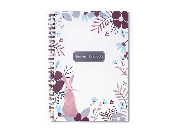 Gold spiral cover, flowers frame and pink bunny