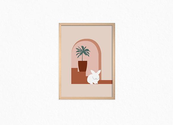 Print, palm tree & white bunny