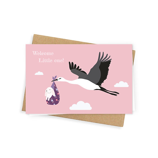 Little one greeting card, pink