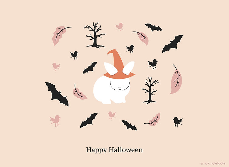 Halloween Greeting card_White bunny