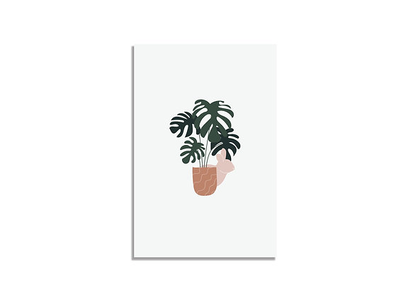 Postcard plant&pink bunny