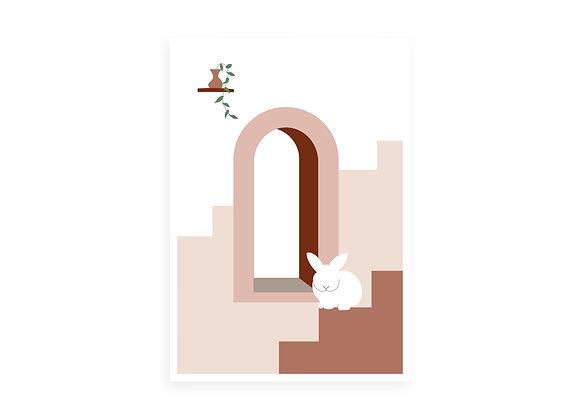Print, white bunny