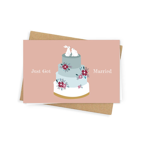 Just got married greeting card, peach