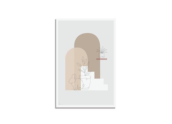Postcard one line grey bunny