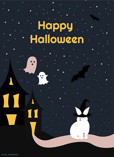 Halloween Greeting card_Ghost house stars