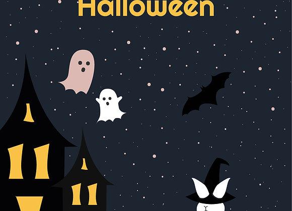 Halloween Greeting card_Ghost house stars