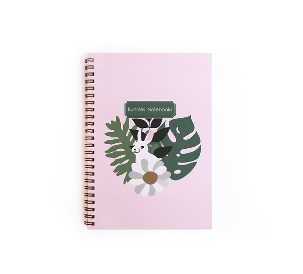 Gold spiral cover notebook, white bunny& leaves