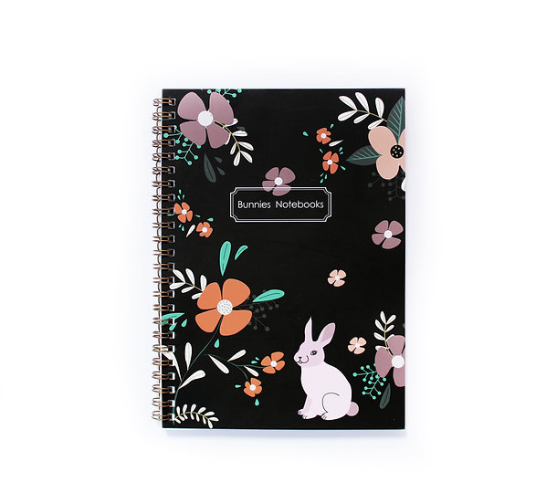 Gold spiral binding notebook with flowers