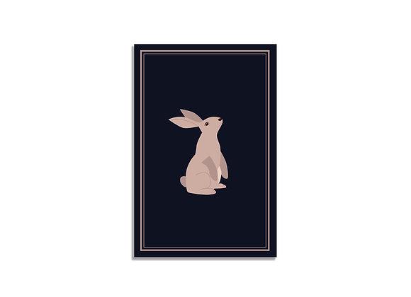 Pink bunny on a dark blue background