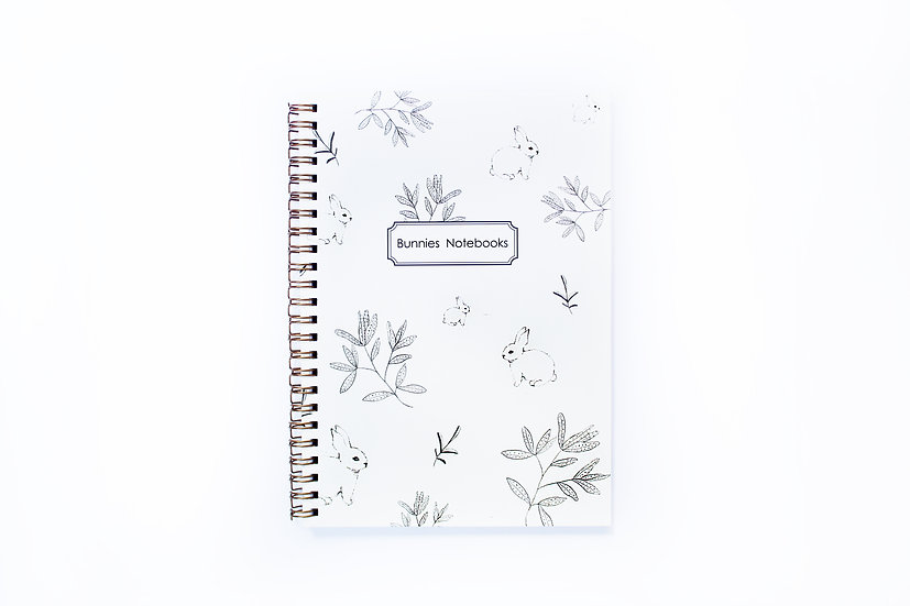 Notebook, Gold Spiral Binding, bunnies pattern