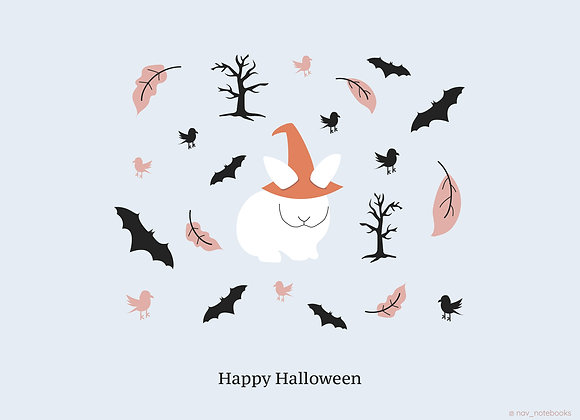 Halloween Greeting card_White bunny