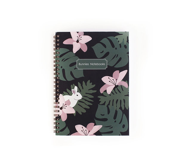 Gold spiral cover notebook, tropical vibe