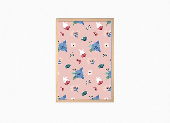 Flowers and white bunny pattern