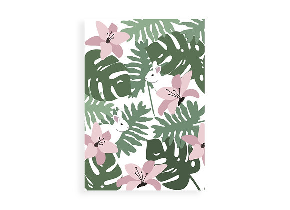 Print, tropical leaves