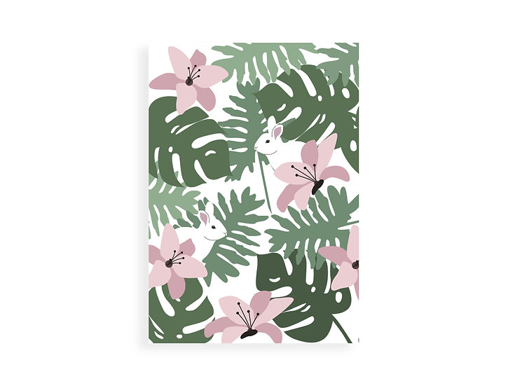 Print, tropical leaves