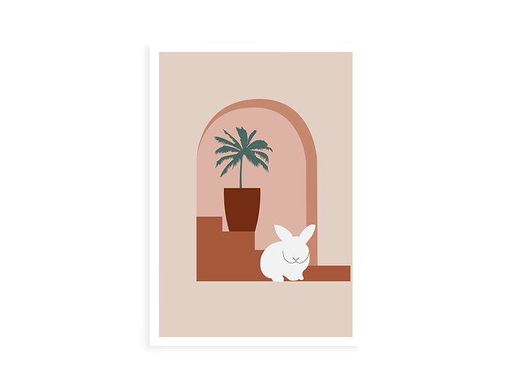 Print, palm tree & white bunny