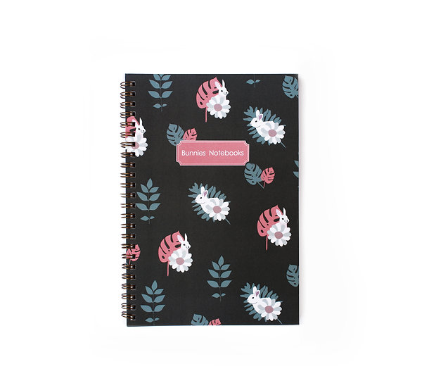 Gold spiral cover notebook, pink&blue pattern