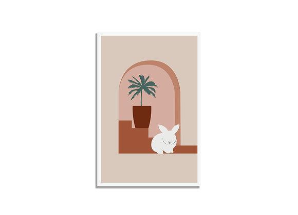 Postcard palm tree & white bunny