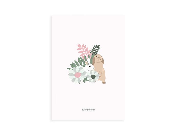 Print, 2 bunnies & flowers, pink