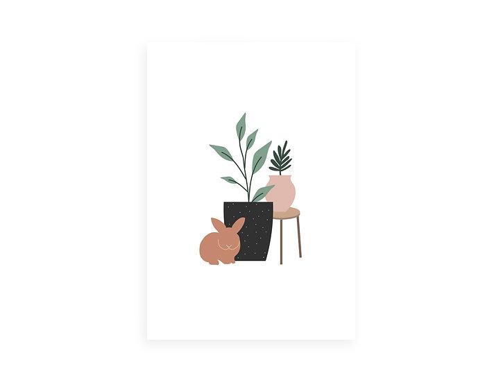 Print, plants&orange bunny