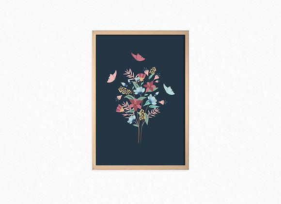 Flowers Bouquet,Dark blue