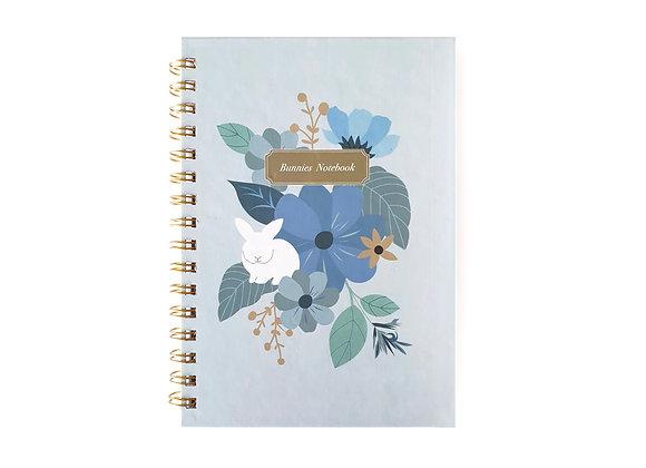 Blue flowers & White bunny