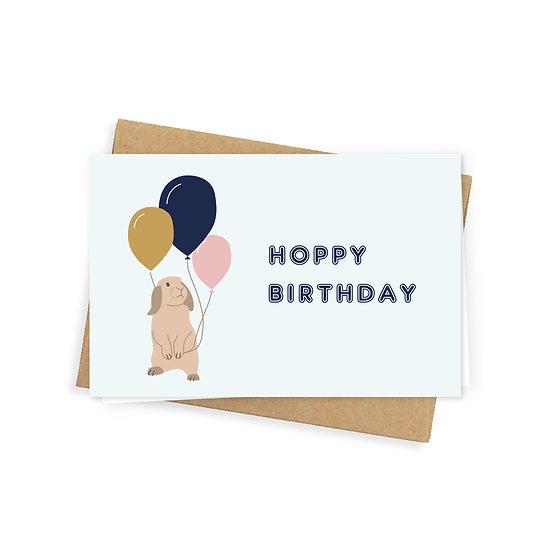 Hoppy birthday greeting card, blue