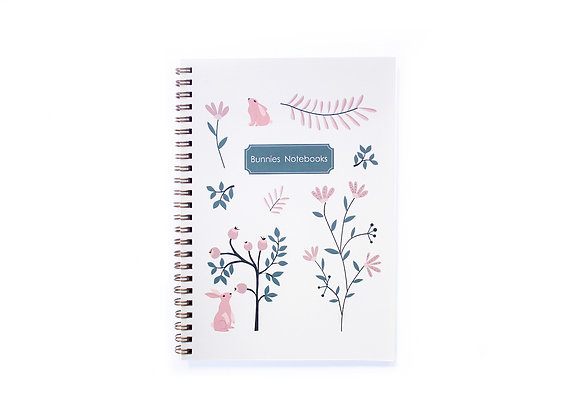 Notebook, Gold Spiral Binding, pink and blue flowers