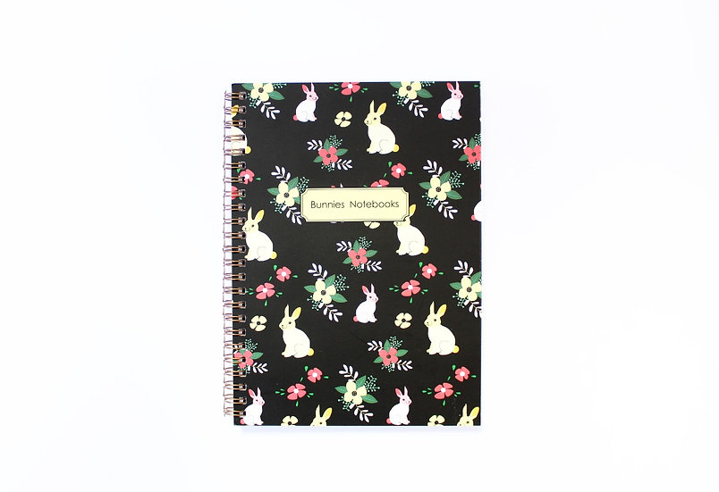 Gold Spiral Binding, Bunnies pattern