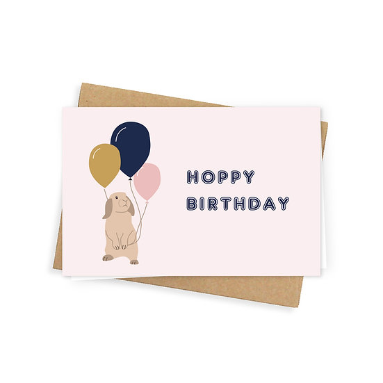 Hoppy birthday greeting card, pink