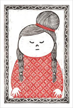 版画/三つ編みの女の子