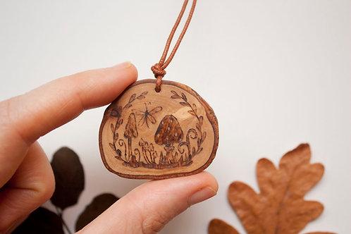 Wild mushroom fantasy forest pendant - eco wood