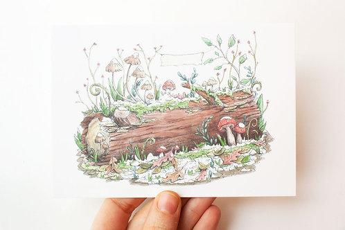Postcard Fall-winter log - watercolor