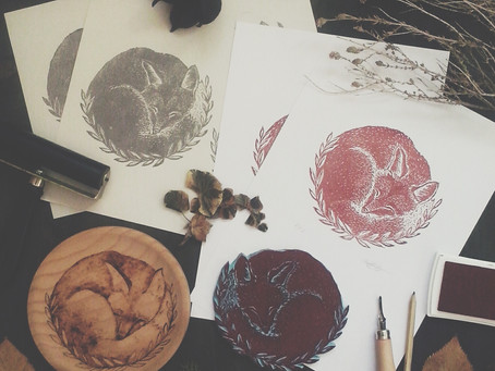 Fox lino print