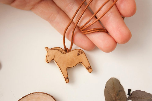 Dala horse pendant - eco spanish wood