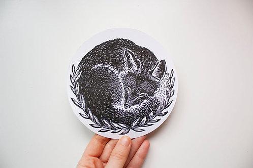 Sleepy fox linoprint