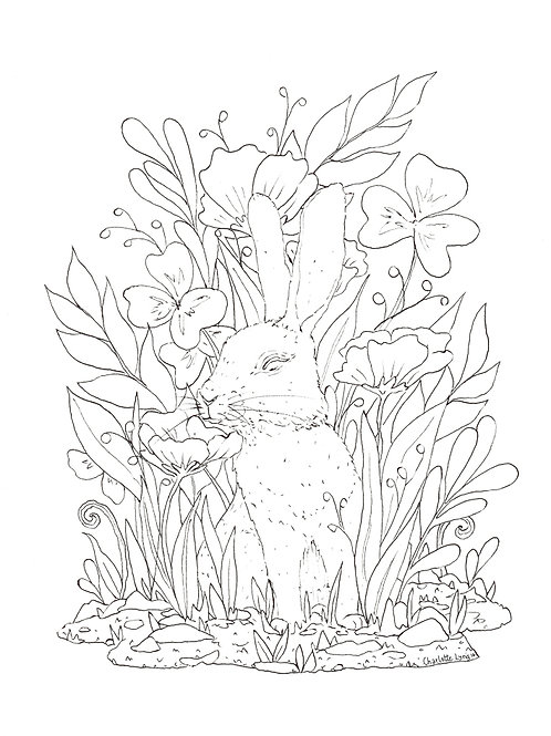 To color Happy Spring - Easter illustration. Bunny