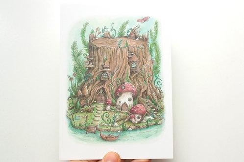 Postcard the secret gnome world - watercolor