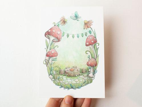 Postcard Tea Party - birthday invitation