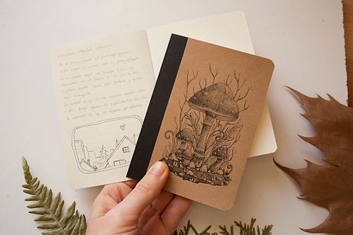 Illustrated notebook with Magical Mushrooms
