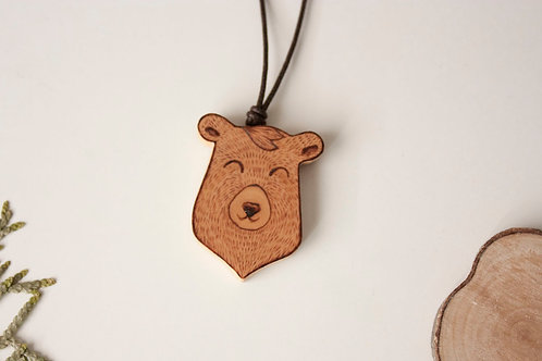 Cute bear pendant - eco spanish wood