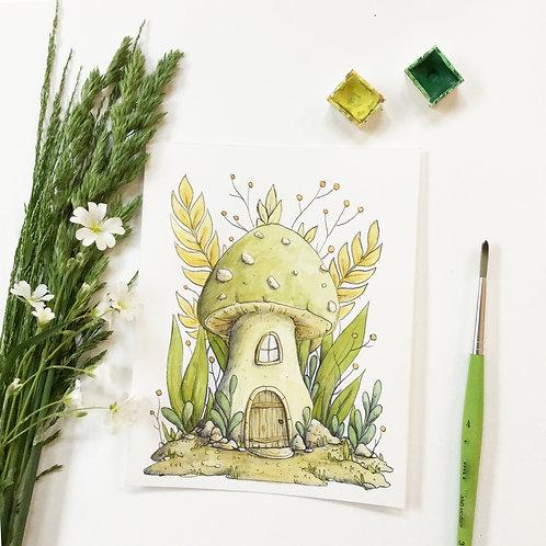 Original watercolour green mushroom house