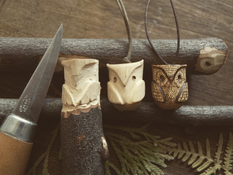 Hand carved owl necklace