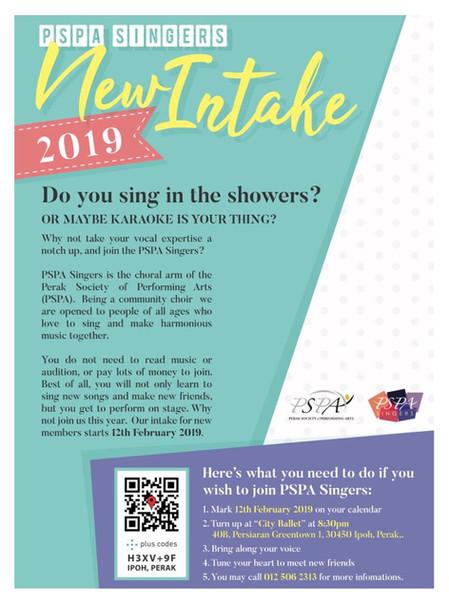 2019 PSPA Singers New Intake Day