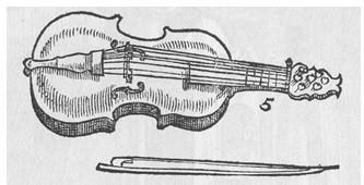 An illustration of a lira da braccio, created by 16th-century composer Michael Praetorious in his book Syntagma Musicum
