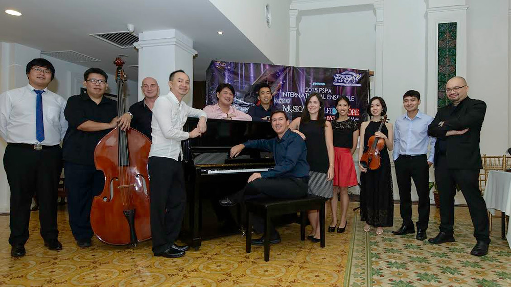Introducing the 2015 PSPA International Ensemble finest musicians: Music Director Eugene Pook (Malaysia) Clarinet Soloist Andrew Simon (U.S.A.) Flutist Alina Windell (U.S.A.) Violinist Christina Zhou (Singapore) Violinist Ooi Khai Ern (Malaysia) Violinist Gabriel Lee (Singapore) Violinist Lim Jae Sern (Malaysia) Violist Benjamin Wong (Hong Kong) Violist Andrew Filmer (Malaysia) Cellist Roeland Duijne (Netherlands) Cellist Lee Kett Chuan (Malaysia) Double Bassist Liew Soon Yee (Malaysia) Pianist Jeremy Samolesky (Canada)